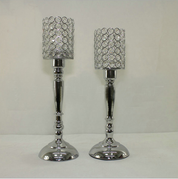 20pcs/lot 45cm 40cm tall silver color crystal beaded candle holder candlestick candelabra table centerpieces wedding party decoration