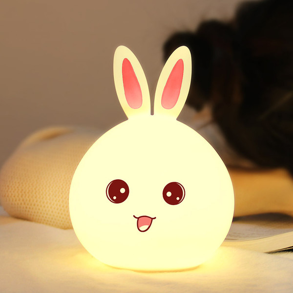 Sprouting rabbit, silica gel lamp, colorful, cute little rabbit, night lantern sprouting, bear rabbit USB, pet cartoon remote control lamp