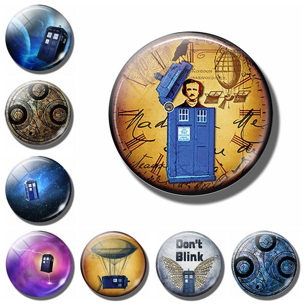 Tardis & Edgar Allan Poe 30 MM Fridge Magnet Dr Who Steampunk Glass Dome Magnetic Refrigerator Stickers Note Holder Home Decor