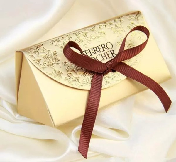 Cheap Gold Candy Box Wedding Favors and Gifts Baby Shower Paper Ferrero Rocher Boxes Wedding Favors Sweet Gifts Bags Supplies