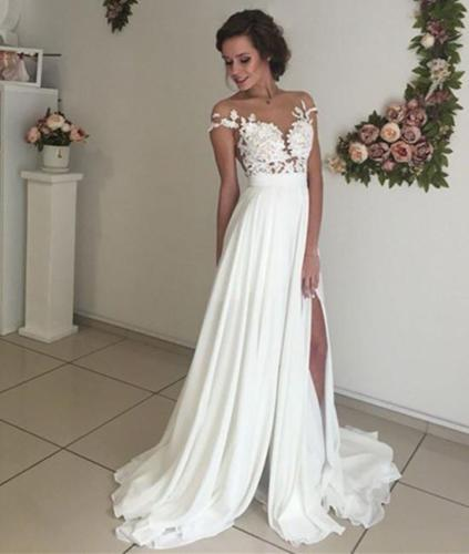 Cap Sleeves Country Wedding Dress with Slit Summer Illusion Back Beach Bridal Dress