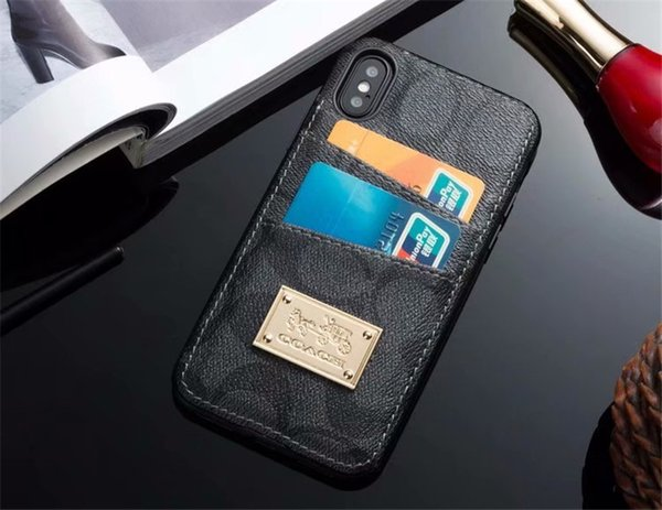 For iPhone X 7 7plus Luxury Branded CAH type Leather Phone Back case for Apple iphone8 8plus 6 6s Plus With Credit Card Holder