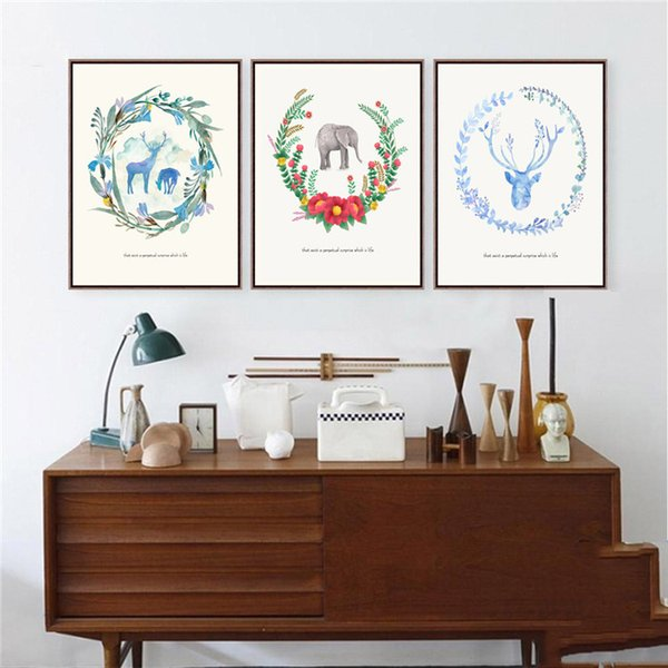 Triptych Nordic Watercolor Paintings Animal&Flower Minimalist Home Wall Decor Picture Art Canvas Painting For Living Rooms Bedroom deco