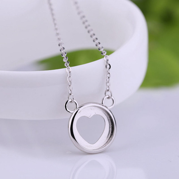 925 Sterling Silver Trendy Pendant Necklace for Women 12X12MM Round Cabochon Semi Mount Pendant Setting DIY Stone Anniversary Gift Wholesale