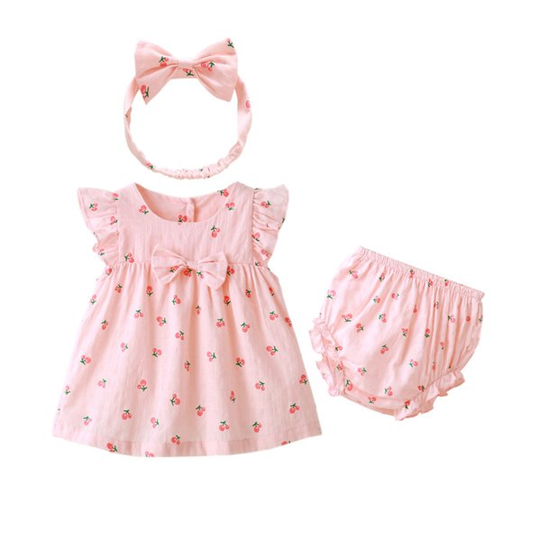 Summer Baby Clothing Cute Bow Infant Girl Cherry Print Dresses Children Kids Clothes 3 Pieces Set includes Dresses + Underpants+Head Band