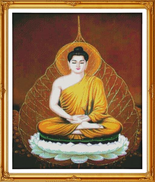 Les peintures de décor de Sakyamuni Buddha, ensembles de travaux de broderie pour la broderie au point de croix à la main ont compté impression sur toile DMC 14CT / 11CT