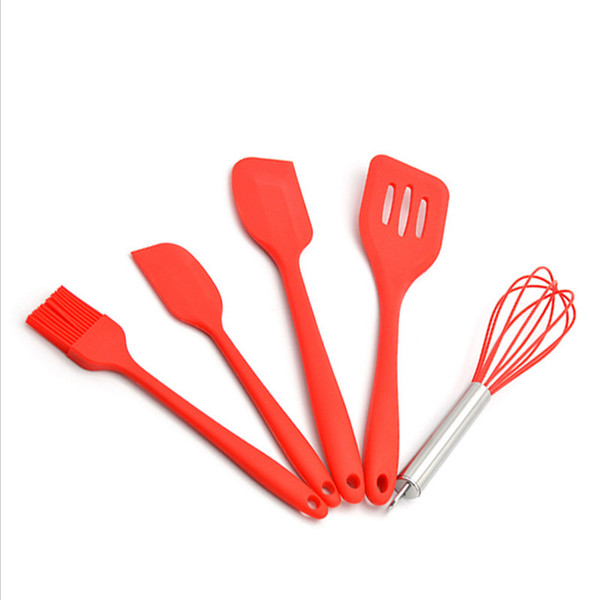 5Pcs Kitchen Cooking Tools Silicone Pastry Cooking Baking Scraper Sets Healthy Oil Utensil Basting Brush Spatulas