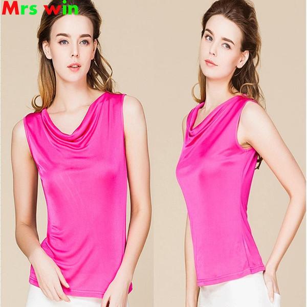 100% Real Silk Summer Women Tank Tops Femme Sleeveless ladies sexy top O neck Tee Shirts Rose pink Basic Female Top T Shirt 2017