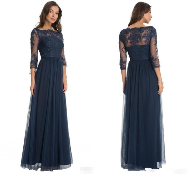 2018 Hot Robe De Soiree Tulle Formal Bridesmaid Dresses Lace Scoop Neck Sheer Three Quarter Sleeves Floor Length Mother of the Bride Dresses