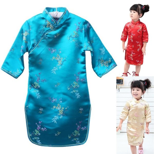 Plum Baby Girls Clothes Chinese Children Qipao Dresses Sleeve Spring Festival Party Costumes Girl Chi-pao One-Piece Cheongsam Skirts
