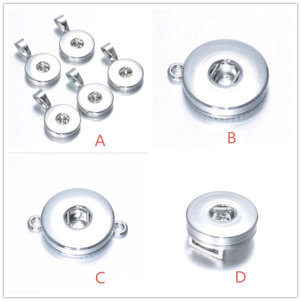 4 estilos 18 mm a presión botón base para bricolaje jengibre snap botón collar pulsera pendientes accesorios de la joyería