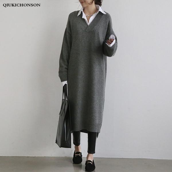 Корейский моды свитер платье женщины 2018 осень зима толстые V шеи трикотажные платья дамы низкий высокий дизайн боковой щели халат тянуть C18110701