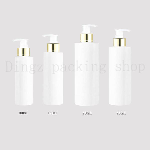 100/150/200 / 250 мл путешествия белый косметический лосьон насос пластиковые бутылки, пустые косметические упаковки золото воротник насос, шампунь бутылка насос