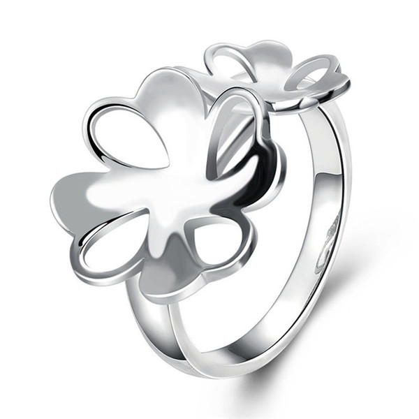 R745 silver flowers beautiful design finger ring 7 # 8 # fashion jewelry party gift 2016 new design Factory Outlet