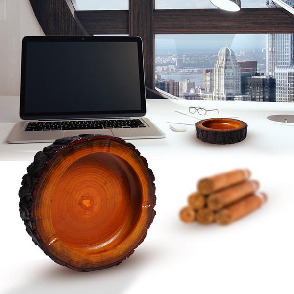 Cendrier en bois original rond créatif de cigarette pour la barre intérieure extérieure de bureau 6.3 pouces