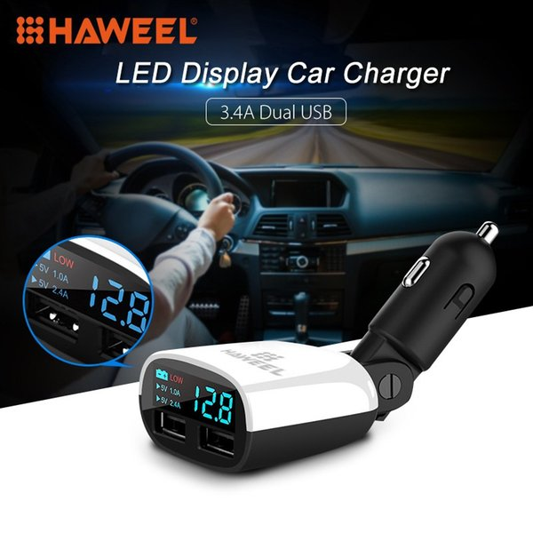 HAWEEL 3.4A 2 Posts USB Car Charger LED Display Swing Head Design Car Charger for Mobile Phone