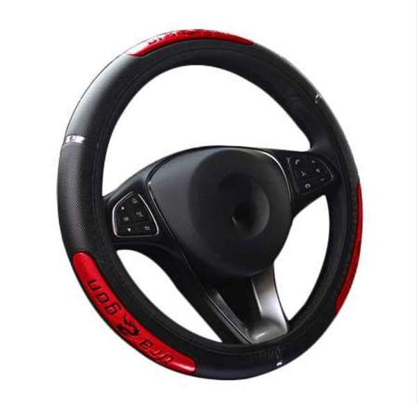 Drangon Design Couro Auto Car Steering Wheel Cover 38 CM / 15 '' Protetor de Volante Do Carro Anti-Slip Acessórios Automotivos
