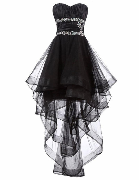 2019 Homecoming Hi-lo Black Dresses Sweetheart Long Evening Dresses for Women Lace-up Backelss Prom Party Gowns