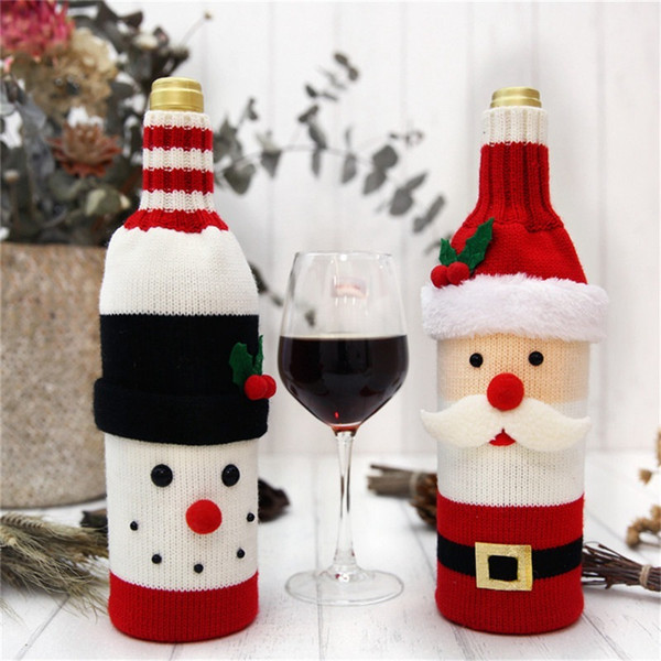Hoomall 1PC Home Dinner Party Table Decors Wine Cover Christmas Decorations Santa Claus Snowman Gift Navidad Xmas Party Supplies Y18102609