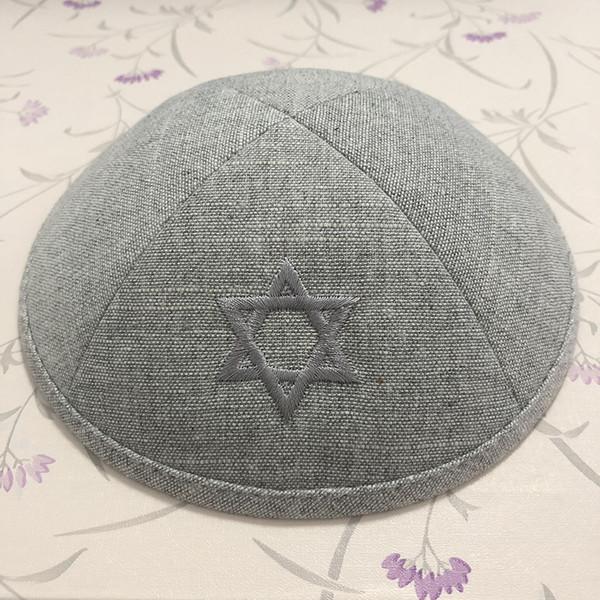 Customize kippah kippot yarmulke , Grey color kipa, ,kippa, skullcap,dome for wedding bar- mitzvah Linen fabric with embriodery florencia