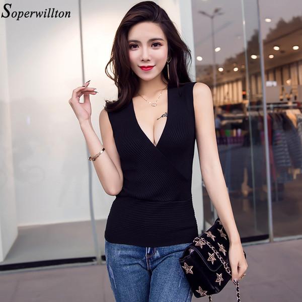 Shirt Sexy Women Cotton Blouse Sleevless White Black 2018 New Summer V neck Shirt Ladies Tops Blusas Femme Womens Clothing V22