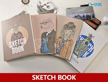 128 Sheets A4 Cartoon Animal Sketch Book , White and Kraft Blank Inside Page Sketchbook for drawing