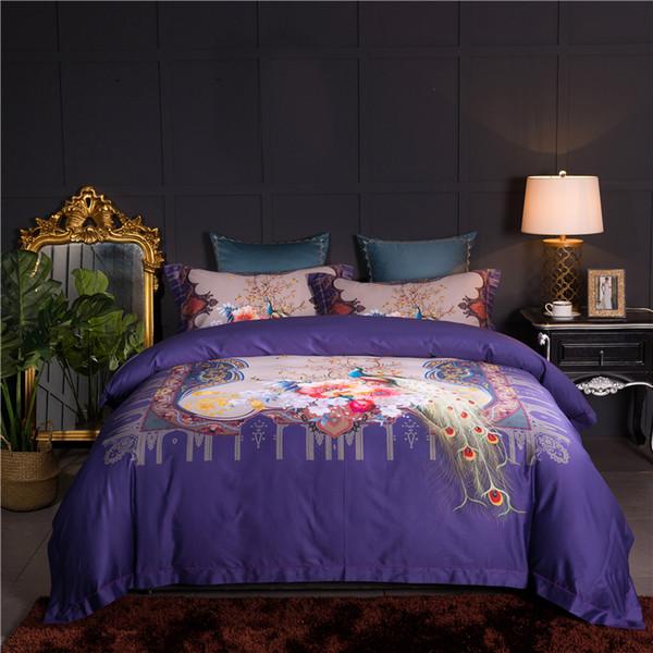 Lusso 80 S Egitto Cotone Classico Peacock Bedding Set stampa digitale Copripiumino Lenzuolo Federe Queen King size 4 Pz