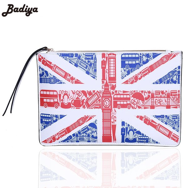 Famous Designer Women's Day Clutch 3D Printing America British Flag Handbag Lady PU Leather Envelope Bag Purse Feminina Bolsa
