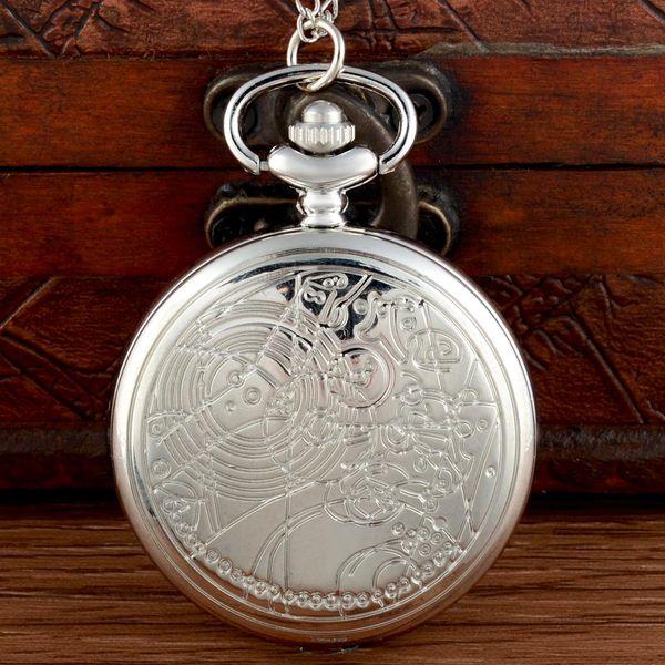 Chains clássico Moda Prata Doctor Who Relógio de bolso antigo Homens Mulheres Colar Pingente relógio de presente