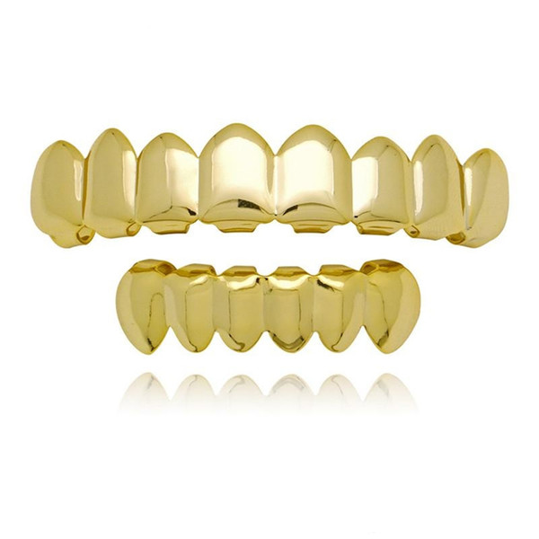 4 Color Grillz 8 Teeth Top and 6 bottom Grills Set With Silicone Model Vampire Hip Hop Jewelry KKA1977