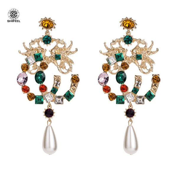 SHIFEL New Arrival Occident Fashion Brand Style Dragon and Phoenix Color stones Letter CC Big Drop Earrings