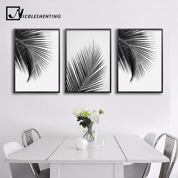Satin Al Siyah Beyaz Palmiye Agaci Yapraklar Tuval Posterler Ve