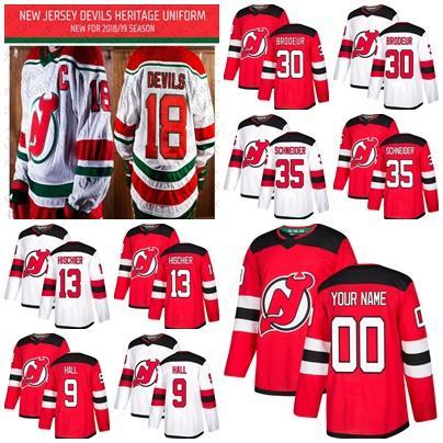 2018-19 Season Third New Jersey Devils 9 Taylor Hall 13 Nico Hischier 30 Martin Brodeur 35 Cory Schneider Heritage Uniform Hockey Jersey