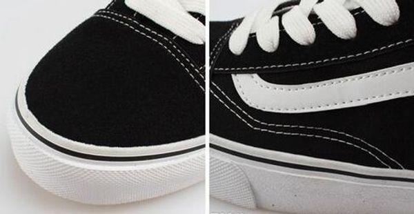 Clásicos Old Skool Lienzo Hombres Mujeres Zapatos casuales Clásico Negro Blanco Vanss Skateboard Shoes