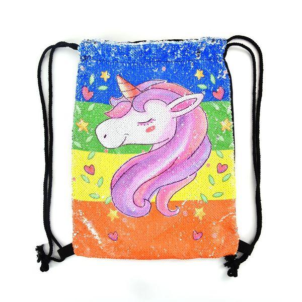 Unicorn Sequin Backpack Drawstring Bag for Girl School Bag Kids Mermaid Horse Draw String Bags