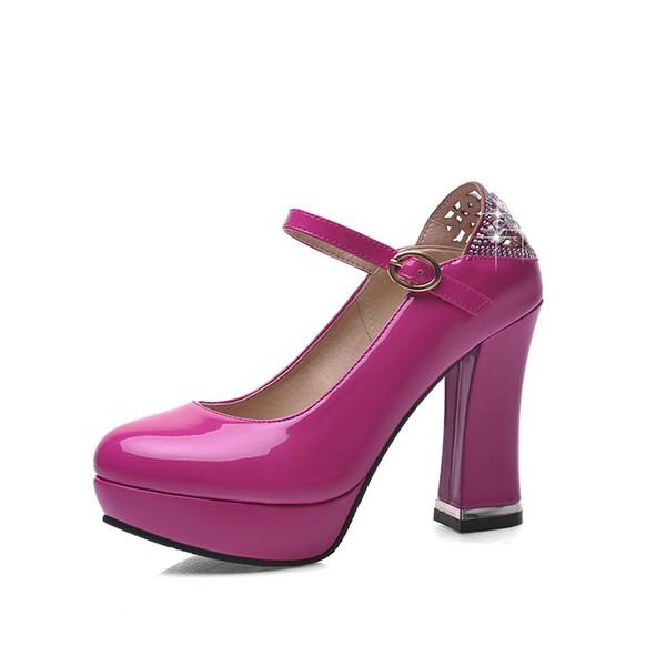 Primavera e autunno moda europea e americana, grossolana, altissima tacco, fibbia, diamante, banchetto, scarpe da donna.QZ7310-3