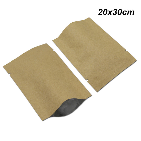 20x30 cm Kraft Paper Open Top Vacuum Pouch Brown Foil Mylar Heat Sealer Food Grade Storage Bags Mylar Foil Material Packing Pouch for Powder