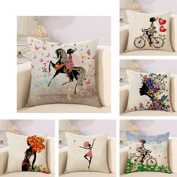 Chinese Girl Flower Linen Pillow Cushion Sofa Cushion Welcome to Customize Decorative Throw Pillows cushion covers pillow cover