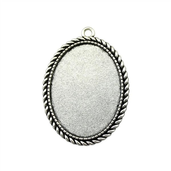 7 pieces cabochon cameo base tray bezel blank wholesale lots bulk rope simple single side inner size 30x40mm oval glass cabochons