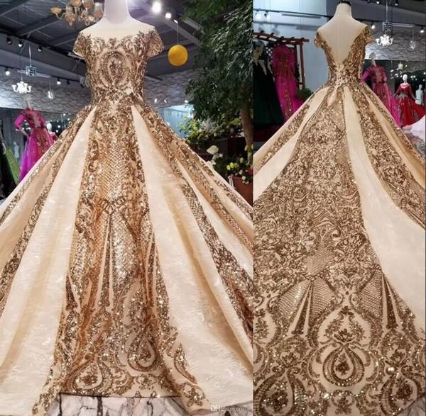 Abiti da sera formali paillettes oro arabo Dubai lussuosi con maniche corte abito di sfera