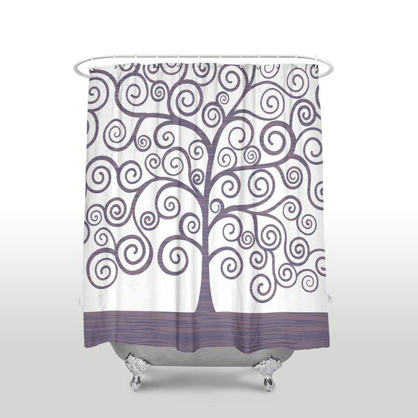 New Waterproof Gustav Klimt Tree Of Life Printed Shower Curtain Polyester Fabric Purple Bathroom Curtains For