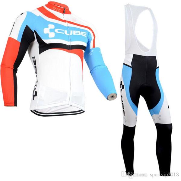 2019 CUBE Pro Men team cycling Long sleeve jersey Maillot ciclismo cycling clothing ropa ciclismo bike clothing Bib Long Pants Set Y041801