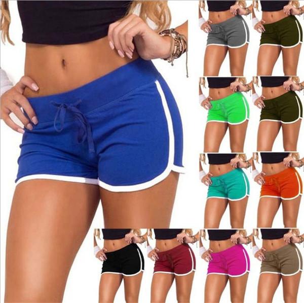 Algodão mulheres yoga shorts esportivos moda ginásio lazer homewear calças de fitness 7 cores cordão shorts de praia senhora verão calças de corrida tendência