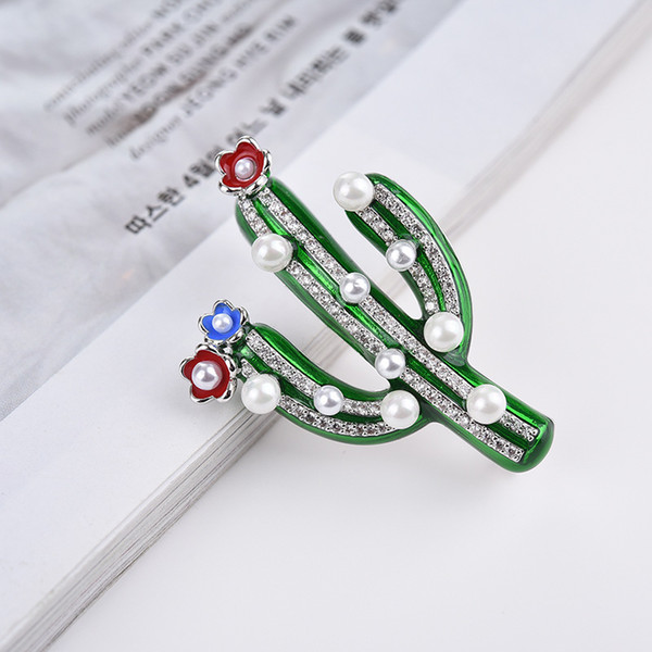 Shining Crystal Pearls Cactus Brooches Jewelry For Women Men Luxury Cubic Zirconia Boutonniere Wedding Party Fashion Brooch Flower Wholesale