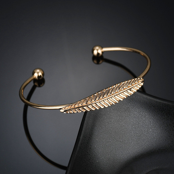 Fashion Open Cuff Bracelet Bangles For Women Charms Adjustable Gold Silver Color Feather Bracelets Wedding Party Wife Love Gift