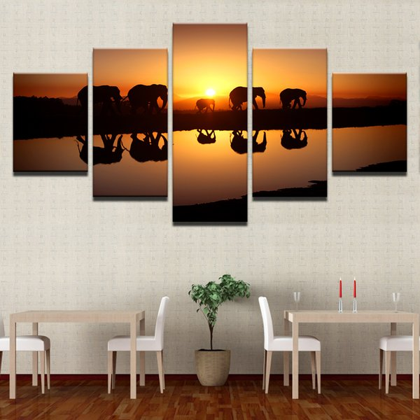 Canvas Poster Home Decor Living Room Wall Art Prints 5 Piece Elephants Sunset Landscape Paintings Animal Lake Pictures Framework