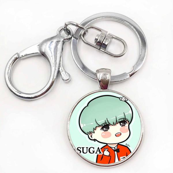Korea POP BTS Bangtan Boys Fan Club ARMY Key Chain Women Men BTS Album Key Chain Time Gem Key Ring Keychain