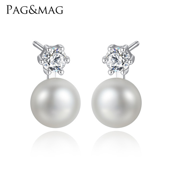 PAG&MAG Natural Freshwater Pearl Stud Earrings for Women Pure 925 Sterling Silver 6 Prong With Zirconia Fine Jewellery Gift 2018