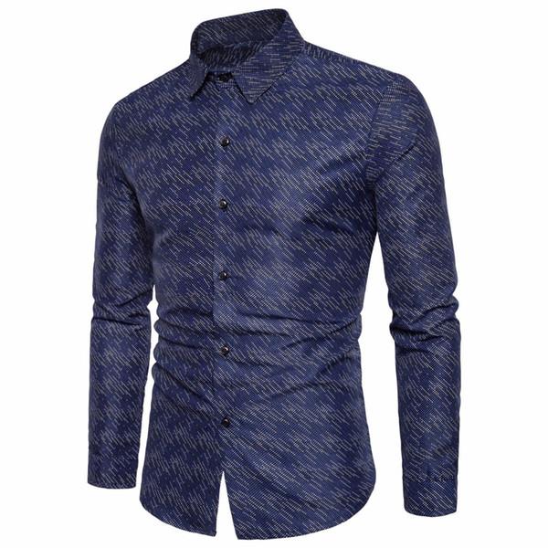 Gros-New Cotton Hommes d'affaires Chemises obscurément Imprimé Chemise à manches longues Homme 2017 S-2XL