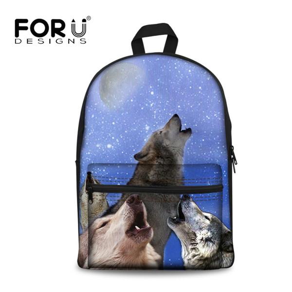 890b8380070 FORUDESIGNS Canvas Backpack Boys Teen The Wolf Printing Orthopedic Student  Rucksack Men Bookbag For Teenagers Bagpack Rolling Backpacks Backpacks For  ...